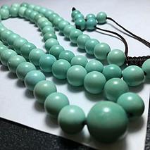 原矿高瓷塔珠绿松石项链 8-12mm 58.2克