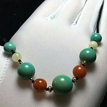 多宝绿松石锁骨链 原矿高瓷松石 搭配天然南红 蜜蜡 直径8-10-11.6-10-7.6mm