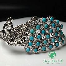 孔雀绿松石首饰套装 吊坠戒指手镯 925银孔雀镶嵌 原矿高瓷蓝玉化松石