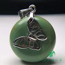平安扣绿松石吊坠 原矿高瓷果绿料 盘玩油绿玉化 925银蝴蝶镶嵌 尺寸19.5×7.5mm 总重6.33克