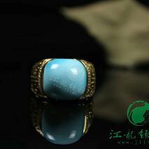 精品原矿高瓷18k金绿松石镶嵌戒指戒面12.5×13mm 金重5.493克 石重2.56克 钻28粒 总重8.053克