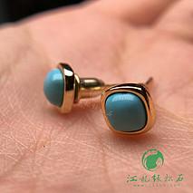 原矿高瓷绿松石925银镶嵌耳钉 镀K黄色 戒面尺寸5/5mm