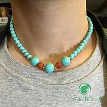 松石锁骨链 原矿绿松石高瓷绿料 干净微线 手工编织 搭配南红配珠 直径6-12.4mm 重30.58克