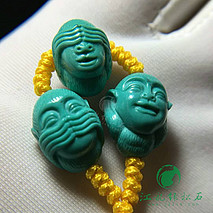 三不猴套装,秦古绿松石顶瓷绿料 精工雕刻 顶珠8.9×12.3mm  腰珠9×13mm 重4.25克