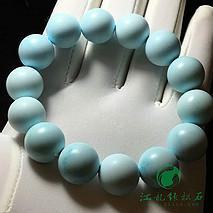 精品绿松石圆珠手串 原矿高瓷天空蓝 干净一窝料 盘玩走蓝 直径14-14.5mm 重51.6克