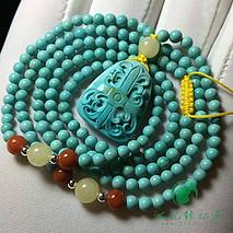 米珠绿松石项链手链 原矿高瓷绿 直径3.3mm 搭配精工雕刻吊坠 总重12.62克