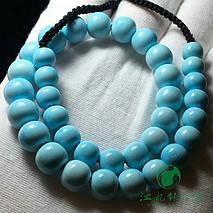 精品老型绿松石项链 原矿高瓷蓝料 盘玩走蓝 干净清爽 直径7.5-9.6mm 松石净重30.2克