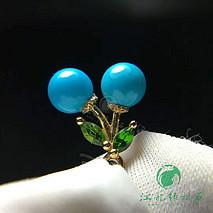 新款绿松石吊坠 18k金镶嵌 松石原矿高瓷蓝 直径5.4mm 小巧精致