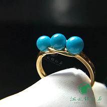 新款绿松石戒指 18k金镶嵌 松石原矿高瓷蓝玉化料 直径4.8mm 圈口13.5#