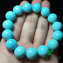 极品绿松石圆珠手串 原矿高瓷蓝 喇叭山一窝料  直径13.2-14.3mm 重53.9克