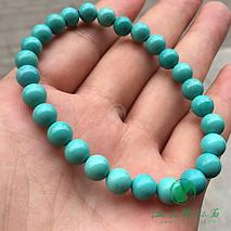 新品绿松石圆珠手串 原矿高瓷 喇叭山果冻料 干净微线 直径7-7.5mm 重14.6克