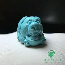 旺财绿松石吊坠 原矿高瓷蓝果冻料 精工雕刻 尺寸20×12.8×12mm 重3.95克