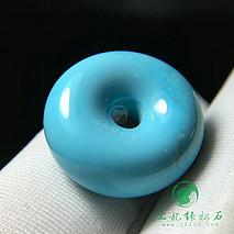 精品面包圈 原矿绿松石高瓷蓝 干净微线 尺寸16.8×7.3mm 重3.2克