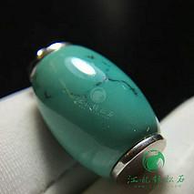 桶珠绿松石吊坠 925银镶嵌 原矿高瓷绿 微水草纹 尺寸12×18mm 重5.14克