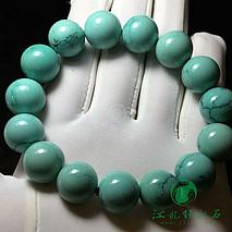 新品绿松石圆珠手串 精选秦古顶级绿料,一窝料打磨 颗颗玻璃瓷 天然水草纹 直径14-15mm 重6