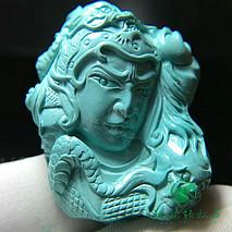精品绿松石挂件  赵子龙  精选秦古高瓷果冻料 精工雕刻 尺寸37.3×30.8×16.2mm 重20.66克