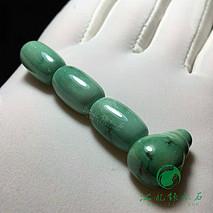 绿松石桶珠三通套装 秦古顶瓷绿料 同料切割打磨 微线 顶珠10.6×16 腰珠10.6×16 三通11.8×11.8×