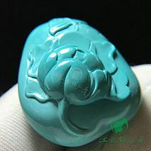 国色天香 牡丹 原矿绿松石高瓷果冻料 精工雕刻 上手玉化 尺寸29×24.5×14.2mm 重12.76克
