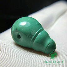 新品精工一体三通 原矿绿松石高瓷 秦古顶级绿料 微线 尺寸13.5×13.5×22.5mm 重5.4克