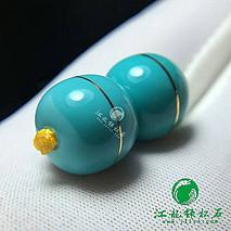 极品错金老型 原矿绿松石高瓷蓝果冻料 错金工艺 全品无暇 直径11.2mm 重4.2克