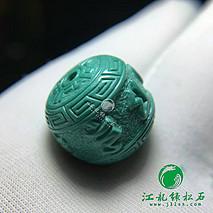 新品六字箴言绿松石鼓珠 原矿高瓷 天然油绿 精工 干净无暇 尺寸15.6×13.8mm 重5.13克
