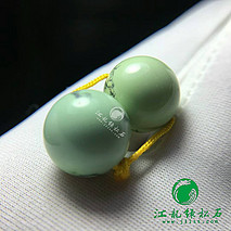 极品菜籽黄对珠 原矿绿松石高瓷 稀有郧西菜籽黄料 天然水草纹 直径11.6mm 重4.4克
